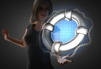 woman and futusistic hologram