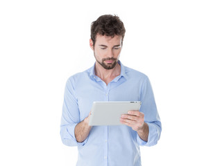 modern man using his tablet