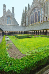 The Gothic gallery of St. Michael monastery. Mont Saint-Michel,