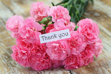 Thank you card with pink carnation flowers