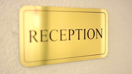 sign - reception - hotel