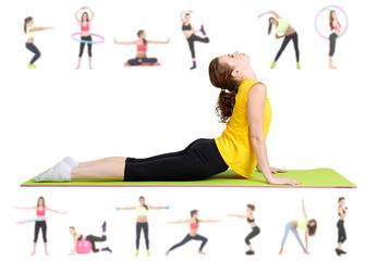 Women doing exercises, yoga isolated