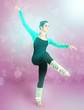 Young beautiful dancer on bright color background