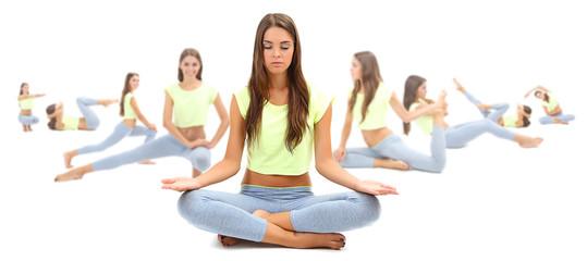Woman doing exercises, yoga isolated