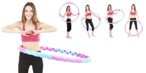 Woman doing exercises with hula hoop isolated