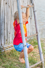 Baby hanging