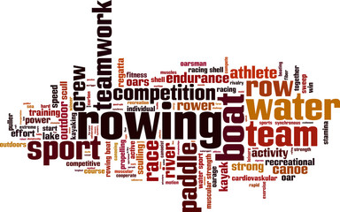 Rowing word cloud concept. Vector illustration