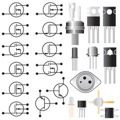 Transistors. Electronic symbols