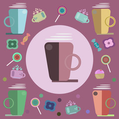 coffee, candies and sweets for a card
