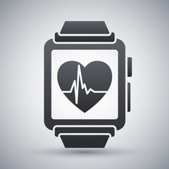 Vector smart watch with health app icon