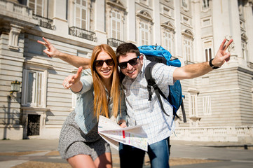 friends tourist couple on students exchange tourism concept