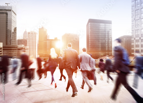 Leinwanddruck Bild Business People Walking Commuter Travel Motion City Concept