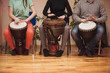Leinwanddruck Bild - Group of Jambe drummers playing