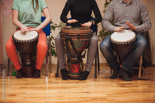 Group of Jambe drummers playing
