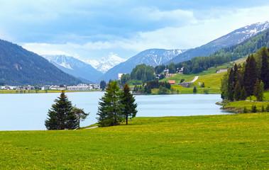 Davos Lake summer view.