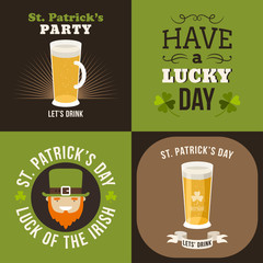 Set of St. Patricks Day card design. Vintage holiday badge