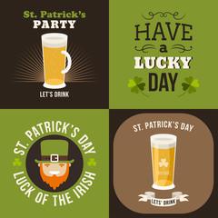 Set of St. Patricks Day card design. Vintage holiday badge
