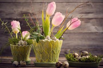 Easter decoration on old wooden background