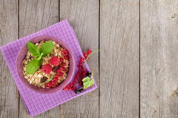 Healty breakfast with muesli and berries