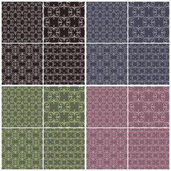 Set of different vector seamless patterns in four color schemes.