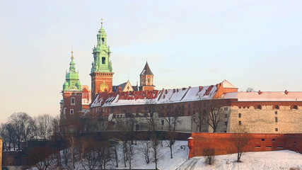 View of the Wawel castle and the Vistula River in Krakow in wint
