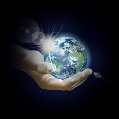 planet earth in his hand