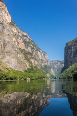Cañon del Sumidero. Wild river at Chiapas. Tour and adventure,