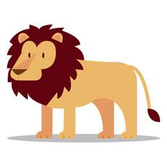 Cartoon Lion Isolated On Blank Background