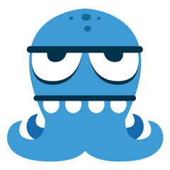 Cartoon Funny Blue Monster Character Isolated