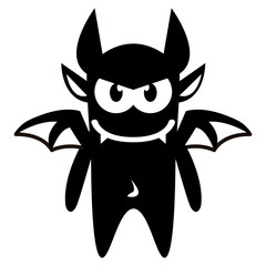 Cartoon Funny Devil Icon Character Isolated