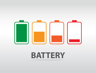Simple battery icon with colorful charge level