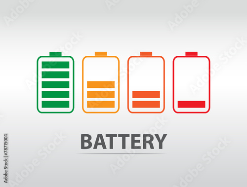 Simple battery icon with colorful charge level - 78715004