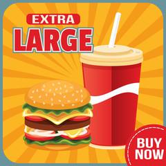 Vector flat fast food illustration