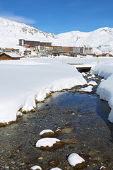 Vertical view of Tignes village