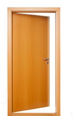 brown room door opening, white light inside white wall beside