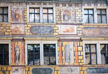 Wall of house in Cesky Krumlov