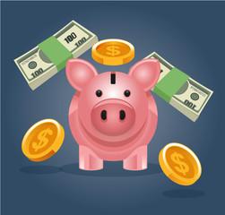Vector piggy bank illustration