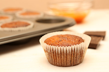 Fresh baked chocolate muffins on the table