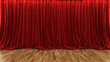 3d rendering theater stage with red curtain and wooden floor - 78716442