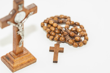Rosary and wooden cross