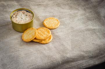 Cracker with tuna spread