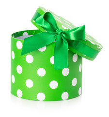 green gift box isolated on the white background