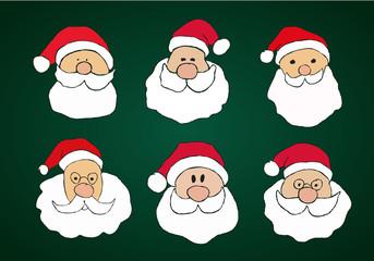 Funny Hand Drawn Santa Clauses Set on Dark Green Background