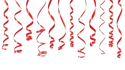 Red party ribbons animation with alpha channel