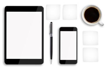 Tablet pc and mobile phone on office desk