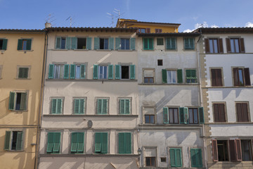 Florence old residential building facade