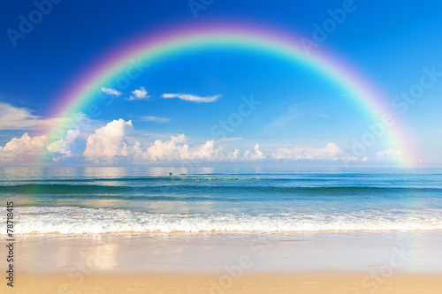 Fototapeta Beautiful sea with a rainbow in the sky