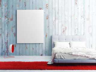 poster on blue wooden wall, bedroom 3d illustration