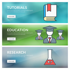 Flat design concept for tutorials, education, research