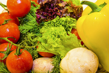 Fresh vegetables and greens.